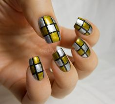 31DC: Day 8 - Metallic (Checkerboard nail art) with A England