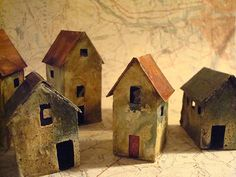 miniature abandoned house sculptures by Mandy Jordan