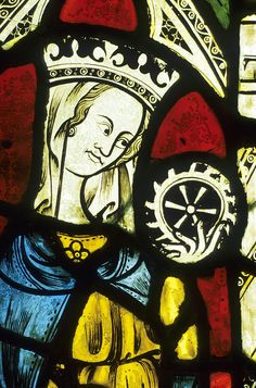 Ely Cathedral, Stained Glass, St Catherine, Wheel Photograph
