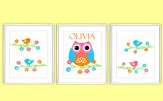 3 PRINT SET -  Baby Nursery Prints - Nursery Wall Art - Owls - Birds - Baby Girl Art - Customize - Love Birds by Nojo - Pink - Blue - Yellow...