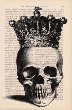 Halloween decorations dictionary art print - SKULL with CROWN Classy Halloween, Halloween Party, Rustic Halloween, Halloween Labels, Halloween Witches, Outdoor Halloween, Halloween Shirt, Halloween Stuff, Vintage Halloween