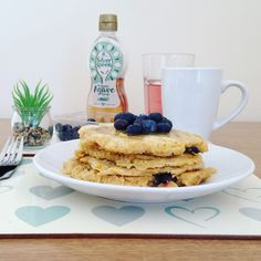 Blueberry garbanzo oat pancakes - father's day feast