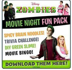 Disney Family Movies, Disney Channel Movies, Zombie Birthday Parties, Zombie Party, Zombie Disney, Run Disney, Disney Menus, Disney Dinner, Disney Printables