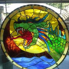 Stained Glass - Medieval Dragon by Vince Rinner