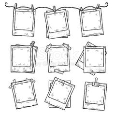 Hand drawn vintage photo frame doodle set. All main elements are separate.
