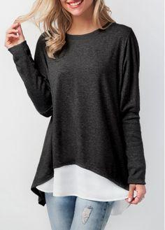 Black Button Back Long Sleeve T Shirt | Rosewe.com - USD $29.05