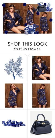 """Navy Paisley And Floral Print Eyelet Lace Insert Dress"" by farrahdyna ❤ liked on Polyvore featuring bleu, Giuseppe Zanotti and under100"