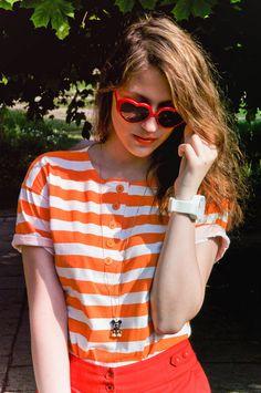 orange striped top