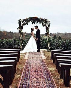 Carpet runner down the aisle.