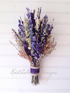 Dried flower bouquet bridal bouquet purple by Cream Wedding, Purple Wedding, Fall Wedding, Chic Wedding, Small Wedding Bouquets, Bridal Flowers, Dried Flower Bouquet, Dried Flowers, Dried Lavender Wedding