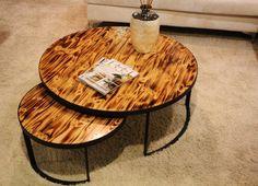 Rustic Coffee Table/ Contemporary Sofa Table/ Burned Wood/ Boho Style/ Custom made