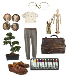 Art chick by yanni-loenders on Polyvore featuring polyvore, fashion, style, Dr. Martens, Oliver Peoples, Nearly Natural and clothing