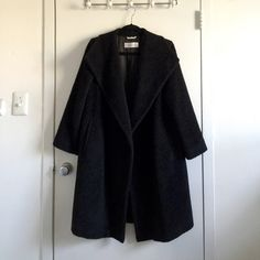 Max Mara Black Alpaca Wool Long Line Coat - Size 2 This is an absolutely breathtaking coat from Max Mara. It runs a bit on the oversized side. It is soft and furry like a teddy bear on the outside. Black, Size US 2. Won't be too sad if it doesn't sell! Retails over $2000. MaxMara Jackets & Coats Trench Coats