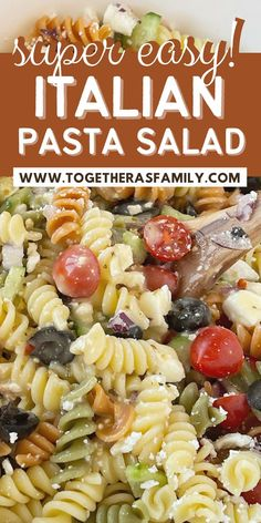 Easy Italian Pasta Salad recipe takes just minutes to make with spiral rotini pasta, cucumber, tomatoes, red onion, black olives, and feta cheese covered in Italian dressing. Such a quick, easy, and delicious pasta salad recipe.