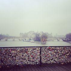 WE DID! Leave a love lock here: Pont des Arts (Lovers' Bridge), Paris