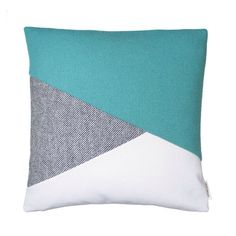 Teal, grey and white cushion