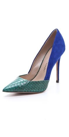Jean-Michel Cazabat Emma Two Tone Pumps. http://fashionlovestruck.com/tropical-blue-green/#