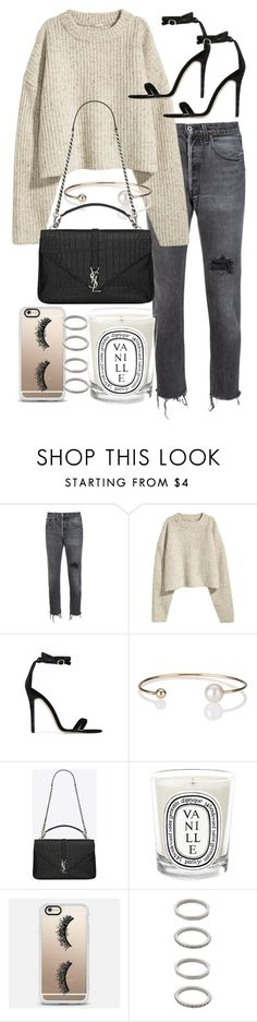 """Untitled #20626"" by florencia95 ❤ liked on Polyvore featuring RE/DONE, Baldwin, Letters By Zoe, Yves Saint Laurent, Diptyque, Casetify and Forever 21"