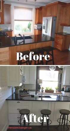 Painted Kitchen Cabinets White Before And After #kitchenbefore/after  #paintedcabinets #kitchenbeforeandafterremodel #