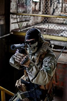 I enjoy both airsoft and paintball. Military Gear, Military Police, Usmc, Armas Airsoft, King's Quest, Ghost Soldiers, Military Special Forces, Special Ops, Navy Seals