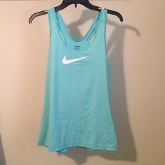 Nike Pro Tank Top New without tags beautiful aqua color size M 84% polyester 16% spandex Nike Tops Tank Tops