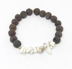 Cream Howlite Chip & Brown Lava Rock Diffuser Bracelet. Available in our shop now! #diffuserbracelet #essentialoils