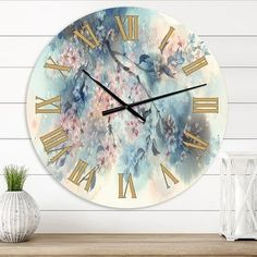 Designart 'White Sakura Flower Blossom on Pastel Blue Background' Farmhouse wall clock (23 In. Wide x 23 In. High), Brown, DESIGN ART(Aluminum)