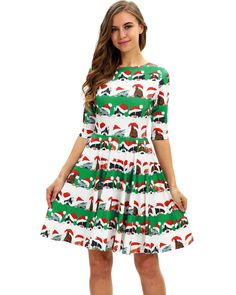 82ffd044d6a Funny Kinds Of Cat In Christmas Hat Printed Party Short Skater Dress –  FADCOVER Short Skater