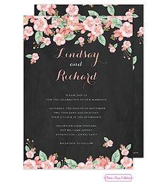 Chalkboard Floral Wedding Invitation | Wedding Favors Unlimited