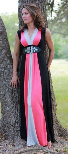 Giada Colorblock Maxi Dress  pinned by #SoCoVintage SoCoVintage.com SALE! $34 (Reg $68)