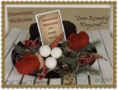 Primitive Snowman Welcome Snowman Hat Christmas ePattern