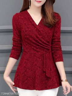 Casual Winter New Plushed and Thickened Bottom Women top Blouse Full Sleeve Blouse Large V-neck Purple tops Blouses Shirt Red Blouses, Shirt Blouses, Shirts, Blouse Styles, Blouse Designs, Mode Cool, Online Clothing Boutiques, Clothing Websites, Clothing Stores
