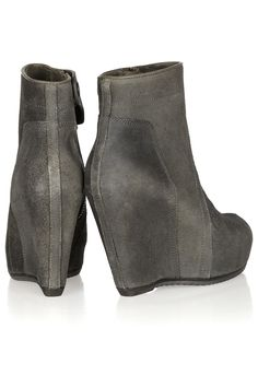 Rick Owens|Washed-suede wedge ankle boots|