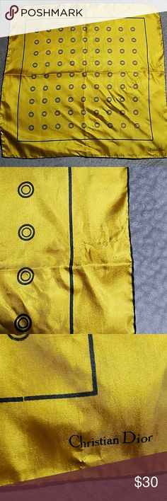 """VINTAGE CHRISTIAN DIOR GOLD SQUARE SCARF BEAUTIFUL  CHRISTIAN DIOR GOLD BROWN CIRCLES SCARF 100% SILK MADE IN ITALY  18"""" X 18"""" Please see all pictures Christian Dior Accessories Scarves & Wraps"""