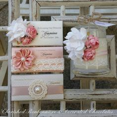 Shabby Chic/Vintage themed Decorated Chocolates and Soy Scented Candle Bonbonnieres - Cherished Bonbonniere