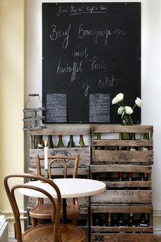#repurposed #wood #crates turned display [credit: Beau Marché Café à Vins | Copenhagen]