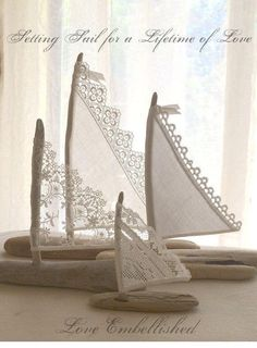 Set of Three Beautiful Romantic Driftwood Beach Decor Sailboats w/ Antique and Vintage Lace Sails Seaside Lakeside Cottage Wedding RTS - 4 Beautiful Driftwood Beach Decor Sailboats Antique Lace Sails Bohemian Inspired Romance Seaside La - Driftwood Beach, Driftwood Crafts, Seashell Crafts, Beach Crafts, Diy And Crafts, Arts And Crafts, Cottage Wedding, Lakeside Cottage, Creation Deco
