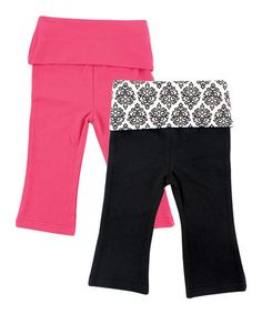 Look at this #zulilyfind! Pink Damask Pants Set by Yoga Sprout #zulilyfinds