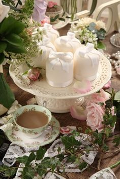 Tea Time & Ivy Tablescape Centerpiece www.tablescapesbydesign.com https://www.facebook.com/pages/Tablescapes-By-Design/129811416695