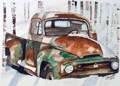 Watercolor Painting Old Truck