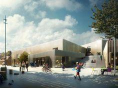 À Elsinor au Danemark, le projet d'un complexe scolaire intégrant de multiples activités et des classes ouvertes sur l'extérieur.  (EFFEKT)