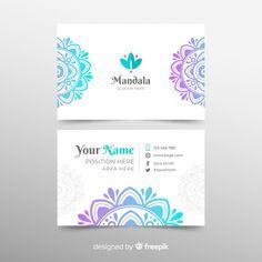 Modern business card template with mandala Free Vector Massage Bebe, Visiting Card Design, Massage Business, Bussiness Card, Lotus Design, Fashion Logo Design, Modern Business Cards, Name Cards, Mandala Art