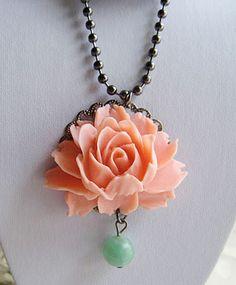 Ahh so pretty! #flower #peach #necklace