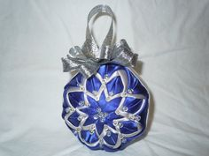 Blue and Silver Quilted Christmas Ornament by OrnamentsFromHome, $20.00