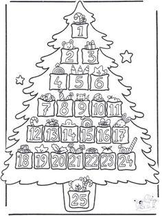calendario dell'Avvento per bambini da stampare e colorare