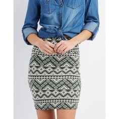 Charlotte Russe Printed Bodycon Mini Skirt ($5) ❤ liked on Polyvore featuring skirts, mini skirts, olive combo, white skirt, tribal print mini skirt, mini pencil skirt, embellished mini skirt and bodycon pencil skirt