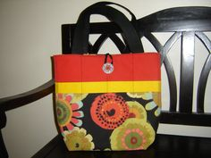 beautiful floral red and black tote by SuzieSewingCreations Homemade Bags, Black Tote, Diaper Bag, Trending Outfits, Unique Jewelry, Handmade Gifts, Floral, Red, Beautiful