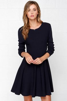 The sun will shine when you make your debut in the Glamorous Fa ir Weather Navy Blue Sweater Dress! Medium weight stretch knit shapes a rounded neckline and long sleeves. Long Sleeve Sweater Dress, Black Long Sleeve Dress, Dress Long, Navy Blue Sweater, Blue Sweaters, Topshop Outfit, Latest Fashion Dresses, Online Dress Shopping, Navy Blue Dresses