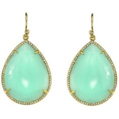 Irene Neuwirth Mint Chrysoprase Teardrop Earrings With Pave Diamonds -... ($9,660) ❤ liked on Polyvore