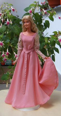 Princess bride ooak costume for Barbie doll - pink belted dress